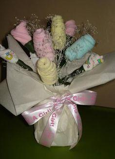 Washcloth rose bouquet