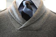 Shawl-collar sweater + tie.