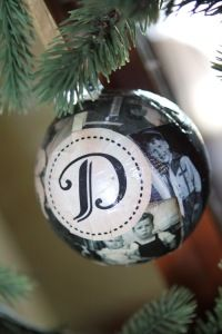 photo ornament - replace initial with a word like, joy or blessed