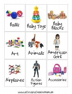 Free printable toy bin labels w/ pictures