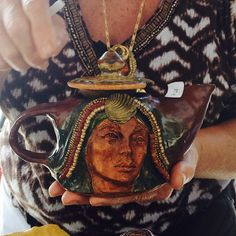 A beautiful hand built goddess pottery teapot by local Roanoke, VA artist, Cheryl Dolby.