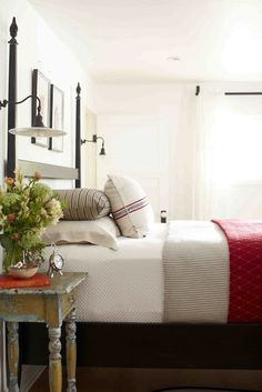bedding, polish pebbl, sconc, lamp, master bedrooms, guest rooms, cottage bedrooms, wall lighting, stripe