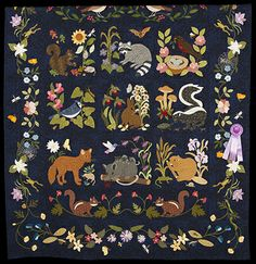 2013 Quilt Expo Quilt Contest, Honorable Mention, Category 4, Machine Quilted Bed Size Appliqued: Woodland Creatures, Nancy Acker, Brodhead, Wis.