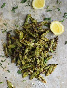 Roasted Sugar Snap Peas with Mint + Sea Salt via With Food + Love