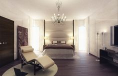 Spacious and chic master bedroom