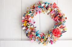 ragwreath, craft, rag wreaths, colors, decorating ideas, door, spring wreaths, ribbon wreaths, fabric scraps