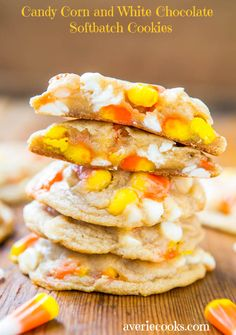 Candy Corn and White Chocolate Softbatch Cookies - Yes please!!  Fun & Easy Recipe at averiecooks.com