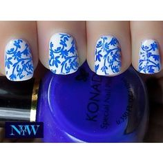 Blue filigree nails