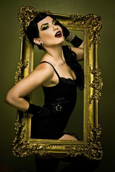 photo shoot ideas for women, red lips, a frame, dark lips, costume makeup, picture frames, photoshoot ideas for women, photo shoots, photographi