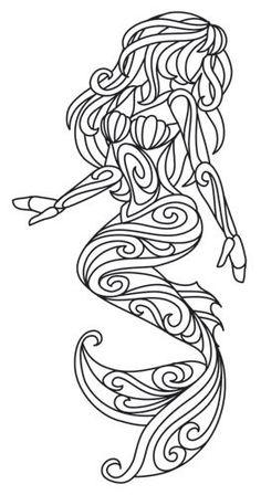 Mermaid in Swirls design (UTH6456) from UrbanThreads.com