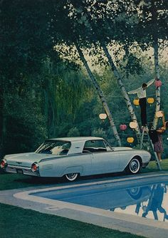 1961 Thunderbird...A little known fact: In the early 60s it was the height of hipness to throw a party while having your car parked 2 feet from the pool.