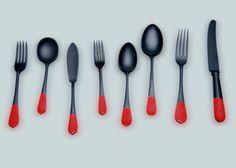 Blackened utensils dipped with Plasti Dip