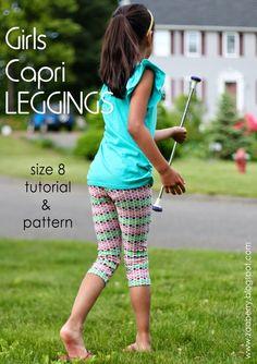 Girls Capri Leggings - Free Pattern and Tutorial