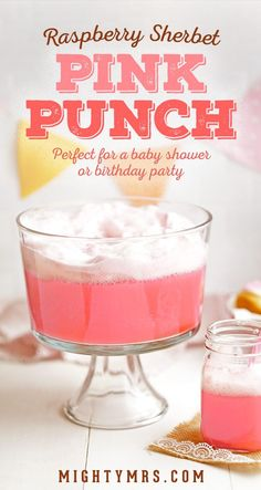 Raspberry Sherbet Pink Punch - This pretty pink punch is super easy and is perfect for a baby shower, bridal shower, wedding shower, or a birthday party. You only need 2 ingredients—Sherbet and ginger ale. The combination naturally creates the frothy top! Adults and kids both love it! If you want to add alcohol—try whipped Vodka! So yummy. #pinkpunch #babyshower
