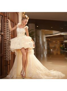 Latest Trend Fabulous Princess High Low High-Grade Wedding Dresses