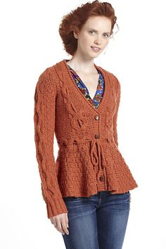 Stitchy Peplum Cardigan - Anthropologie.com I really want one.