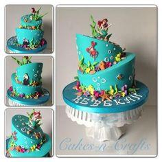 Topsy turvy little mermaid cake.