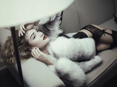 model in fur and lingerie
