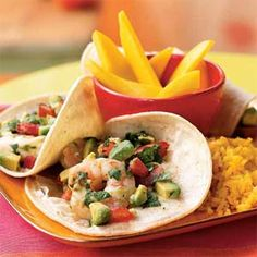 Seviche-Style Shrimp and Avacado Tacos- 261 cals per serving! YUMMM!