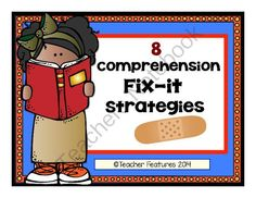 """8 Comprehension Fix-it Strategies from Teacher Features on TeachersNotebook.com -  (10 pages)  - Got comprehension? If your students struggle to remember comprehension fix-it strategies that they can use, these anchor charts and """"I Can"""" reminders will help."""