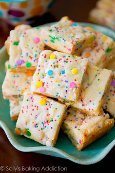 If you like the taste of cake batter, you will love these blondies. No mixer, 1 bowl, 30 minutes. Use less milk.
