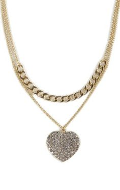 Deb shops 2 Row necklace with Chain and Stone Heart