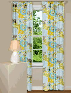 Modern Blue Floral Curtains