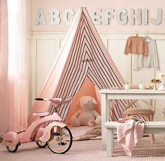 This is the only shade of pink that I like for a girl's room. By the way, my daughters will so have a teepee in their room. Hehe.