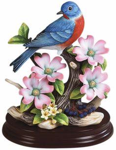 Eastern Bluebird with Dogwood, Porcelain-Bird-Figurines, A9752 - AllSculptures.com