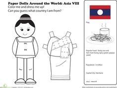Worksheets: Paper Dolls Around the World: Laos