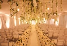 Hanging Flowers, beautiful way to decorate indoor reception in case of rainout.