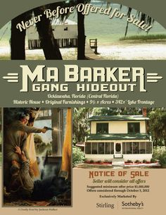 Bullets Included With This Ma Barker/FBI Shootout Home for Sale in Florida ~ A marvelously museum-like home on the shores of Lake Weir where in 1935 the FBI surrounded a woman named Ma Barker & her gang & riddled them with bullets.  The Orlando Sentinel had a detailed write-up of the melee that saw 2,000 rounds of bullets unloaded during the 5-hour shootout.  Re-enactments performed there, & the ghastly events have prompted a few to believe the lakeside home might be haunted.