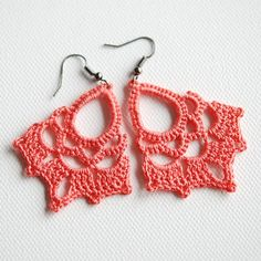 Coral crocheted lace earrings