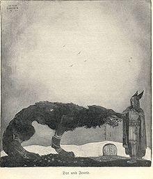 """In Norse mythology, Fenrir (Old Norse: """"fen-dweller""""), Fenrisúlfr (Old Norse: """"Fenris wolf""""), Hróðvitnir (Old Norse: """"fame-wolf""""), or Vánagandr (Old Norse: """"the monster of the river Ván"""") is a monstrous wolf. Fenrir is attested in the Poetic Edda, compiled in the 13th century from earlier traditional sources, and the Prose Edda and Heimskringla, written in the 13th century by Snorri Sturluson."""