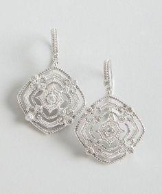 Leslie Greene : sterling silver and diamond ornate earrings