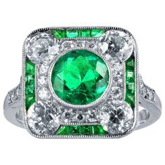 Art Deco Emerald Diamond Ring | From a unique collection of vintage fashion rings at http://www.1stdibs.com/jewelry/rings/fashion-rings/