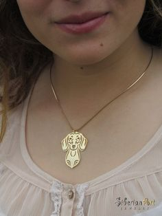 Dachshund jewelry  gold dog jewelry  pendant by SiberianArtJewelry, $89.00