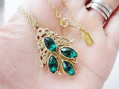 vintage 1928  necklace with emerald green by LorenzoMele on Etsy, $21.00