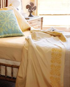 Stenciled Hawaiian-print bed linens