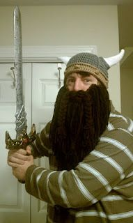 Crochet Viking Hat with beard. Sword not included.