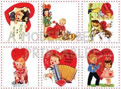 Printable retro valentines, cutie pie kids | Modern Betty