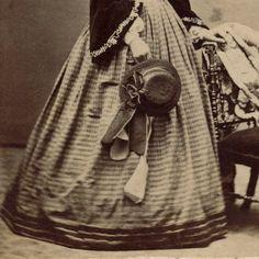 Mrs Ed Zinn Lovely in Velvet Jacket Gingham Hoopskirt Fine Bonnet by Lochman'S   eBay. Medium-sized purse