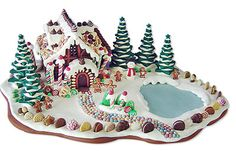 Gingerbread house with a lake