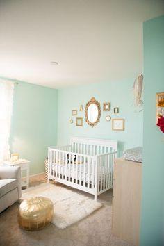 Elegant Aqua and Gold Baby Girl Nursery