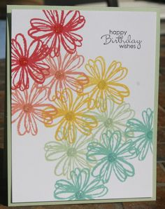 One layer card, Flower Shop stamp set. Daffodil Delight, Pistachio Pudding, Strawberry Slush, Crisp Cantaloupe, Coastal Cabana. stamp sets, happy birthdays, flower shops, coastal colors, cards stamping up, rainbow card, flower shop stamping up, cut flowers, one layer cards stampin up