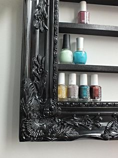 Black Baroque Glam Nail Polish Display by DaintyCreations found on Etsy, $70.00. I love the idea of this however, I would add a piece to prevent the nail polishes from falling out in case of an earthquake. We get a lot of those here in cali. By doing that, I would also make the more space in between shelves.