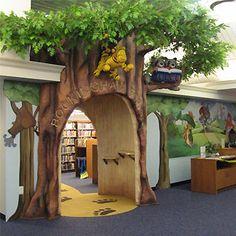 tree, kid spaces, church kids room, kids library room, school libraries, kid rooms, librari entranc, public libraries
