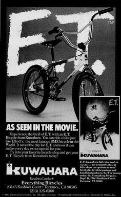 Kuwahara BMX bike ad • Billed as the bike Elliot rides in the flick • From http://brandedinthe80s.com/ • #E.T.