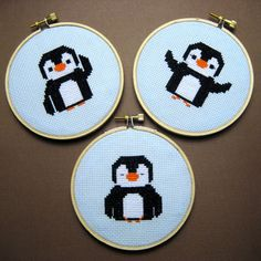 baby penguin trio - my first cross stitches