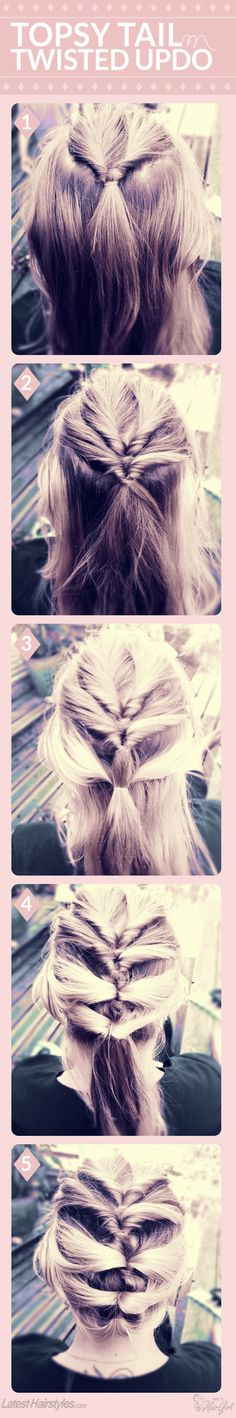 Topsy Tail Twisted Hair Tutorial. Simple hairstyle, just make a pony tail and use your fingers to make a split in the middle to pull the hair through creating twisted sides - and just keep repeating until you get to the bottom.